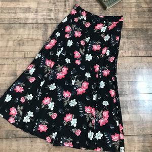 Sag Harbor Floral Black & Pink Skirt
